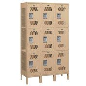 "Salsbury Extra Wide Vented Metal Locker 83368 - Triple Tier 3 Wide 15""Wx18""Dx24""H Tan Assembled"