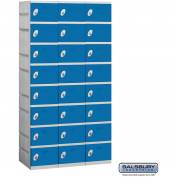 "Salsbury Plastic Locker, Eight Tier, 3 Wide, 12-3/4""W x 18""D x 9-1/8""H, Blue, Assembled"