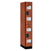 "Salsbury C-Thru Designer Wood Locker S-32161 - Double Tier 1 Wide 12""Wx21""Dx36""H Cherry Assembled"