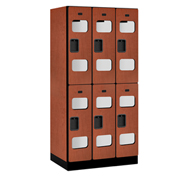 "Salsbury C-Thru Designer Wood Locker S-32361 - Double Tier 3 Wide 12""Wx21""Dx36""H Cherry Unassembled"