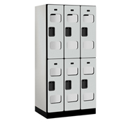 "Salsbury C-Thru Designer Wood Locker S-32361 - Double Tier 3 Wide 12""Wx21""Dx36""H Gray Unassembled"