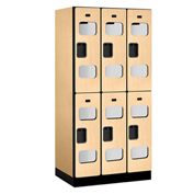 "Salsbury C-Thru Designer Wood Locker S-32361 - Double Tier 3 Wide 12""Wx21""Dx36""H Maple Unassembled"