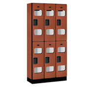 "Salsbury Designer Wood Locker S-32365 - Double Tier 3 Wide 12""W x 15""D x 36""H Cherry Unassembled"