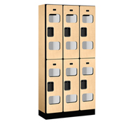 "Salsbury Designer Wood Locker S-32365 - Double Tier 3 Wide 12""W x 15""D x 36""H Maple Unassembled"