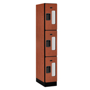 "Salsbury C-Thru Designer Wood Locker S-33161 - Triple Tier 1 Wide 12""Wx21""Dx24""H Cherry Assembled"