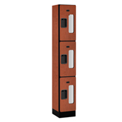 "Salsbury Designer Wood Locker S-33165 - Triple Tier 1 Wide 12""W x 15""D x 24""H Cherry Assembled"