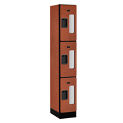 "Salsbury Designer Wood Locker S-33168 - Triple Tier 1 Wide 12""W x 18""D x 24""H Cherry Assembled"