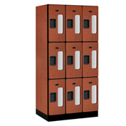 "Salsbury C-Thru Designer Wood Locker S-33361 - Triple Tier 3 Wide 12""Wx21""Dx24""H Cherry Unassembled"