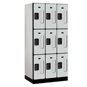 "Salsbury C-Thru Designer Wood Locker S-33361 - Triple Tier 3 Wide 12""Wx21""Dx24""H Gray Unassembled"