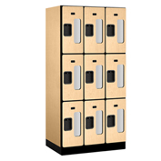 "Salsbury C-Thru Designer Wood Locker S-33361 - Triple Tier 3 Wide 12""Wx21""Dx24""H Maple Unassembled"