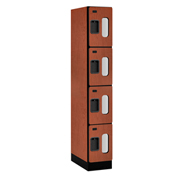 "Salsbury C-Thru Designer Wood Locker S-34161 - Four Tier 1 Wide 12""Wx21""Dx18""H Cherry Assembled"