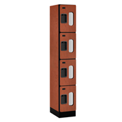 "Salsbury Designer Wood Locker S-34168 - Four Tier 1 Wide 12""W x 18""D x 18""H Cherry Assembled"