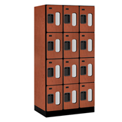 "Salsbury C-Thru Designer Wood Locker S-34361 - Four Tier 3 Wide 12""Wx21""Dx18""H Cherry Unassembled"