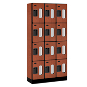 "Salsbury Designer Wood Locker S-34365 - Four Tier 3 Wide 12""W x 15""D x 18""H Cherry Unassembled"