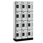 "Salsbury Designer Wood Locker S-34365 - Four Tier 3 Wide 12""W x 15""D x 18""H Gray Unassembled"