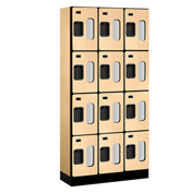 "Salsbury Designer Wood Locker S-34365 - Four Tier 3 Wide 12""W x 15""D x 18""H Maple Unassembled"