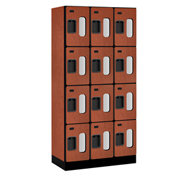 "Salsbury Designer Wood Locker S-34368 - Four Tier 3 Wide 12""W x 18""D x 18""H Cherry Unassembled"