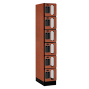 "Salsbury C-Thru Designer Wood Locker S-36161 - Six Tier 1 Wide 12""Wx21""Dx12""H Cherry Assembled"