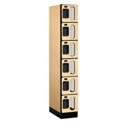 "Salsbury C-Thru Designer Wood Locker S-36161 - Six Tier 1 Wide 12""Wx21""Dx12""H Maple Assembled"