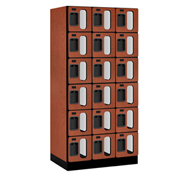 "Salsbury C-Thru Designer Wood Locker S-36361 - Six Tier 3 Wide 12""Wx21""Dx12""H Cherry Unassembled"