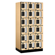 "Salsbury C-Thru Designer Wood Locker S-36361 - Six Tier 3 Wide 12""Wx21""Dx12""H Maple Unassembled"