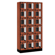 "Salsbury Designer Wood Locker S-36365 - Six Tier 3 Wide 12""W x 15""D x 12""H Cherry Unassembled"