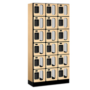 "Salsbury Designer Wood Locker S-36365 - Six Tier 3 Wide 12""W x 15""D x 12""H Maple Unassembled"