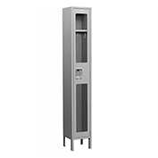 "Salsbury See-Through Metal Locker S-61162 - Single Tier 1 Wide 12""W x 12""D x 72""H Gray Assembled"