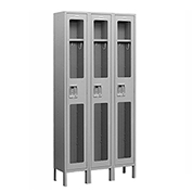 "Salsbury See-Through Metal Locker S-61362 - Single Tier 3 Wide 12""W x 12""D x 72""H Gray Unassembled"