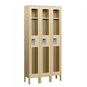 "Salsbury See-Through Metal Locker S-61362 - Single Tier 3 Wide 12""W x 12""D x 72""H Tan Assembled"