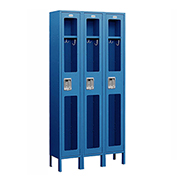 "Salsbury See-Through Metal Locker S-61365 - Single Tier 3 Wide 12""W x 15""D x 72""H Blue Unassembled"