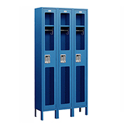 "Salsbury See-Through Metal Locker S-61368 - Single Tier 3 Wide 12""W x 18""D x 72""H Blue Unassembled"
