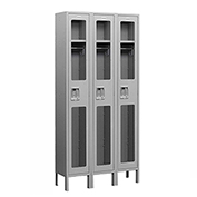 "Salsbury See-Through Metal Locker S-61368 - Single Tier 3 Wide 12""W x 18""D x 72""H Gray Unassembled"