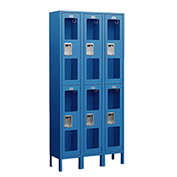 "Salsbury See-Through Metal Locker S-62362 - Double Tier 3 Wide 12""W x 12""D x 36""H Blue Assembled"