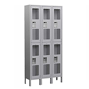 "Salsbury See-Through Metal Locker S-62362 - Double Tier 3 Wide 12""W x 12""D x 36""H Gray Assembled"