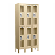 "Salsbury See-Through Metal Locker S-62362 - Double Tier 3 Wide 12""W x 12""D x 36""H Tan Assembled"
