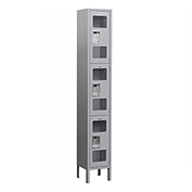 "Salsbury See-Through Metal Locker S-63162 - Triple Tier 1 Wide 12""W x 12""D x 24""H Gray Assembled"