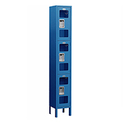 "Salsbury See-Through Metal Locker S-63165 - Triple Tier 1 Wide 12""W x 15""D x 24""H Blue Assembled"