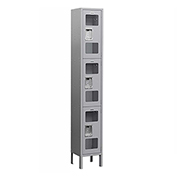 "Salsbury See-Through Metal Locker S-63165 - Triple Tier 1 Wide 12""W x 15""D x 24""H Gray Assembled"