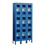 "Salsbury See-Through Metal Locker S-63362 - Triple Tier 3 Wide 12""W x 12""D x 24""H Blue Assembled"