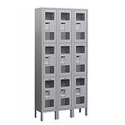 "Salsbury See-Through Metal Locker S-63362 - Triple Tier 3 Wide 12""W x 12""D x 24""H Gray Assembled"