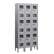 "Salsbury See-Through Metal Locker S-63368 - Triple Tier 3 Wide 12""W x 18""D x 24""H Gray Assembled"