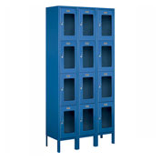 "Salsbury See-Through Metal Locker S-64362 - Four Tier 3 Wide 12""W x 12""D x 18""H Blue Unassembled"