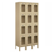 "Salsbury See-Through Metal Locker S-64362 - Four Tier 3 Wide 12""W x 12""D x 18""H Tan Assembled"