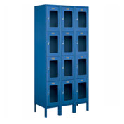 "Salsbury See-Through Metal Locker S-64365 - Four Tier 3 Wide 12""W x 15""D x 18""H Blue Unassembled"