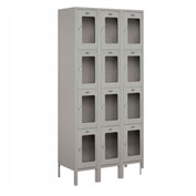 "Salsbury See-Through Metal Locker S-64365 - Four Tier 3 Wide 12""W x 15""D x 18""H Gray Assembled"