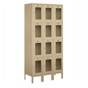 "Salsbury See-Through Metal Locker S-64365 - Four Tier 3 Wide 12""W x 15""D x 18""H Tan Assembled"