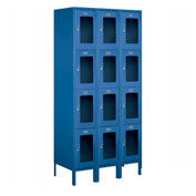 "Salsbury See-Through Metal Locker S-64368 - Four Tier 3 Wide 12""W x 18""D x 18""H Blue Assembled"