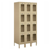"Salsbury See-Through Metal Locker S-64368 - Four Tier 3 Wide 12""W x 18""D x 18""H Tan Assembled"
