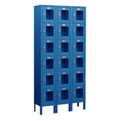 "Salsbury See-Through Metal Locker S-66368 - Six Tier 3 Wide 12""W x 18""D x 12""H Blue Assembled"